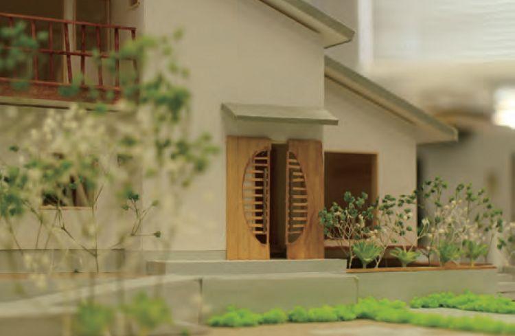 中庭を中心に回る家(模型)