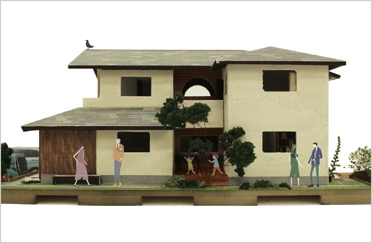 キッチンで繋がる二世帯住宅(模型)
